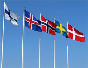 Flags of the Nordic countries outside the Bella Center, Copenhagen, 2004