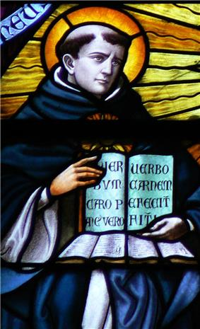 St Thomas Aquinas in stained glass, Saint-Rombouts Cathedral, Mechelen, Belgium