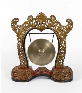 A Java-Bali style Gong, hanging in a frame.