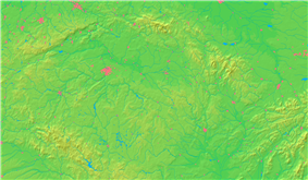 The Berounka with its two sources the Mže (northern) and the Radbuza (southern) until its confluence with the Vltava (magenta), also showing its watershed