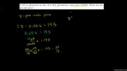 Percent word problems : Percent Problems Volume Algebra series by Sal Khan