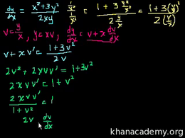 Homogeneous equations : First order homo... Volume Differential Equations series by Sal Khan