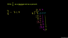 Decimals and fractions : Representing a ... Volume Arithmetic and Pre-Algebra series by Sal Khan