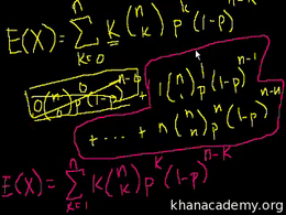 Binomial distribution : Expected Value o... Volume Probability and statistics series by Sal Khan