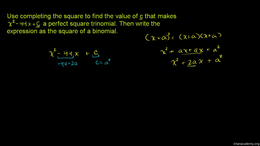 Completing the square : Example 1: Compl... Volume Algebra series by Sal Khan