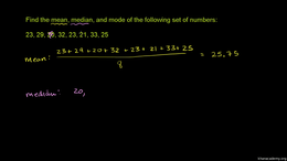 Measures of central tendency : Example: ... Volume Probability and statistics series by Sal Khan