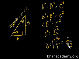 Special right triangles : 45-45-90 Trian... Volume Geometry series by Sal Khan
