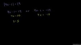 Absolute value equations : Absolute Valu... Volume Algebra series by Sal Khan