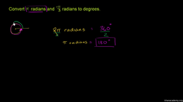 Radians : Example: Converting radians to... Volume Basic trigonometric ratios series by Sal Khan