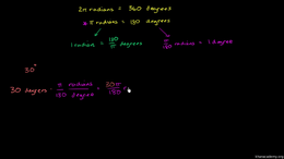Radians : Radian and degree conversion p... Volume Basic trigonometric ratios series by Sal Khan