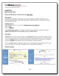 Legaltrac : Quick Search Guide by The World Bank