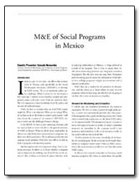 M and E of Social Programs in Mexico by The World Bank