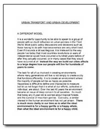 Urban Transport and Urban Development by Penalosa, Enrique