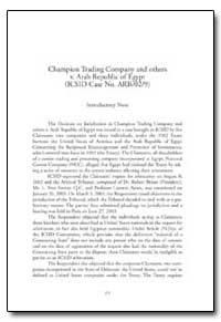 Champion Trading Company and Others V. A... by Polasek, Martina
