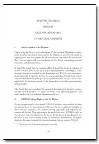 Marvin Feldman V. Mexico Case No. Arb(Af... by Bravo, Jorge Covarrubias