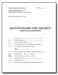 Questionnaire for Children Sample Survey... by The World Bank