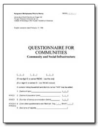 Questionnaire for Communities Community ... by The World Bank