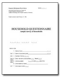 Household Questionnaire Sample Survey of... by The World Bank
