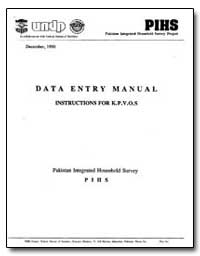 Data Entry Manual Instructions for K. P.... by The World Bank