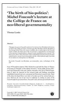 The Birth of Bio-Politics : Michel Fouca... by Lemke, Thomas