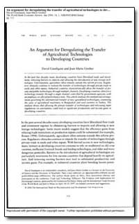 An Argument for Deregulating the Transfe... by Gisselquist, David
