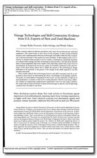 Vintage Technologies and Skill Constrain... by Navaretti, Giorgio Barba