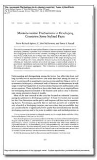 Macroeconomic Fluctuations in Developing... by Agenor, Pierre-Richard