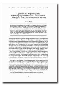 Openness and Wage Inequality in Developi... by Wood, Adrian