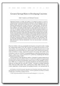 Genuine Savings Rates in Developing Coun... by Hamilton, Kirk