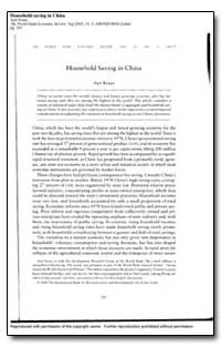 Household Saving in China by Kraay, Aart