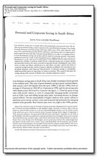Personal and Corporate Saving South Afri... by Aron, Janine