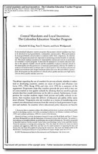 Central Mandates and Local Incentives : ... by King, Elizabeth M.