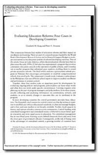 Evaluating Education Reforms : Four Case... by King, Elizabeth M.