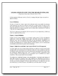 Legislation on Low Volume Roads in Finla... by Isotalo, Jukka