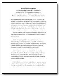 Keynote Address (By Videolink) Inaugural... by Sachs, Jeffrey