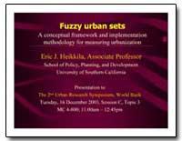 Fuzzy Urban Sets a Conceptual Framework ... by Heikkila, Eric J.