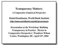 Transparency Matters : A Comparative Emp... by Kaufmann, Daniel