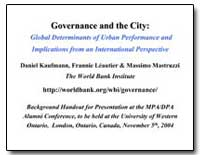 Global Determinants of Urban Performance... by Kaufmann, Daniel