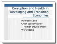 Corruption and Health in Developing and ... by Lewis, Maureen