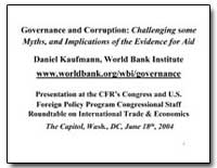Governance and Corruption : Challenging ... by Kaufmann, Daniel
