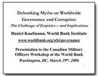 Debunking Myths on Worldwide Governance ... by Kaufmann, Daniel