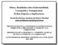 Mitos Y Realidades Sobre Gobernabilidad,... by Kaufmann, Daniel