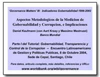 Governance Matters III : Indicadores Gob... by Kaufmann, Daniel