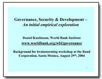 Governance, Security and Development an ... by Kaufmann, Daniel