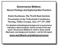 Governance Matters : Recent Findings and... by Kaufmann, Daniel