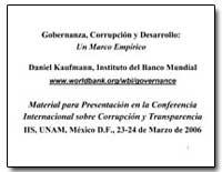 Gobernanza, Corrupcion Y Desarrollo : Un... by Kaufmann, Daniel