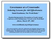 Governance at a Crossroads : Sobering Le... by Kaufmann, Daniel