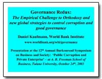 Governance Redux : The Empirical Challen... by Kaufmann, Daniel