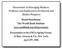 Governance in Emerging Markets : Evidenc... by Kaufmann, Daniel