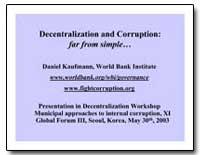 Decentralization and Corruption : Far fr... by Kaufmann, Daniel